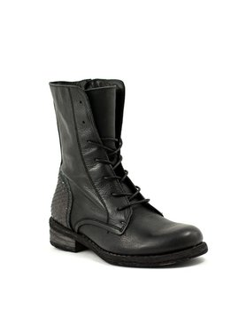 Felmini A579 Short Lace-up Boot Black/Metallic Snake