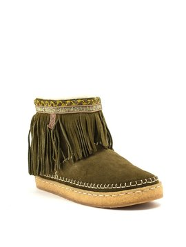 Laid Back London Nyali Fringe Boot Olive