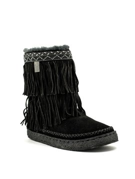 Laid Back London Naira Double Fringe Boot Black