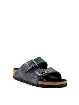 Birkenstock Arizona Spotted Metallic Black Leather Narrow Width