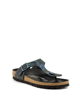 Birkenstock Gizeh Spotted Metallic Black Leather Narrow Width