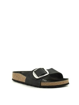 Birkenstock Madrid Big Buckle Sandal Black Waxy Leather Narrow Width