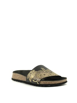 Birkenstock Cora Sandal Ornaments Black/Gold Leather Narrow Width