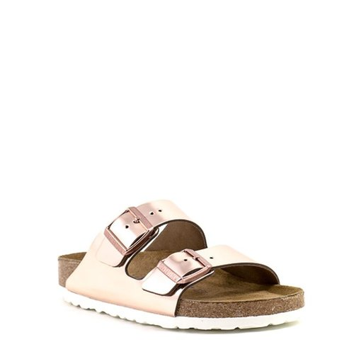 Birkenstock Birkenstock Arizona Copper Metallic Leather Soft Footbed Narrow Width