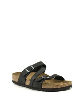 Birkenstock Salina Canberra Old Black Black Natural Leather Narrow Width