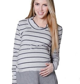 Maternity for Two COWL GREY STRIPE.XS