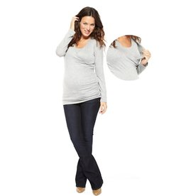 NOM SURPLICE TEE.HEATHER.S