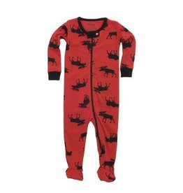 Hatley Footed Coverall-Moose On Red.3-6M