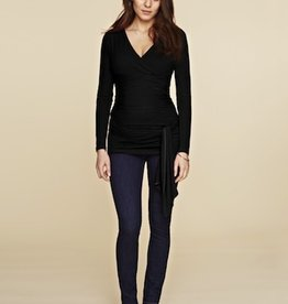 Isabella Oliver RUCHED WRAP TOP.BLK.0