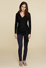 Isabella Oliver RUCHED WRAP TOP.BLK.1