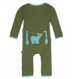 Kickee Pants Moss Polar Bear Applique Coverall.3-6M