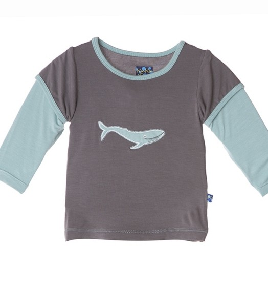 Kickee Pants Long Sleeve Double Layer Applique Tee. Rain Whale. 6Y