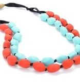 CHEWBEADS ASTOR NECKLACE.TURQ/CHERRY RED