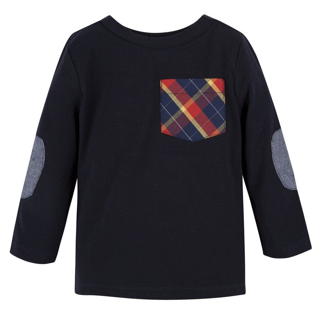 ANDY & EVAN LS POCKET TEE.NAVY W/ PLAID.12M