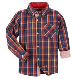 ANDY & EVAN LS PLAID SHIRT.RED W/ YELLOW. 4T