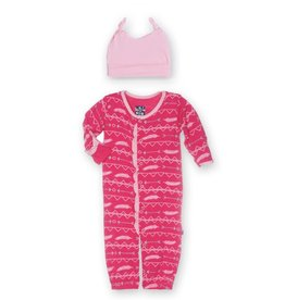 Kickee Pants Ruffle Layette Gown Converter & Knot Hat Set
