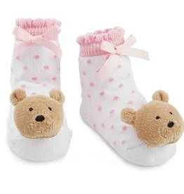 Mud Pie LAYETTE GIRL RATTLE SOCKS.BEAR
