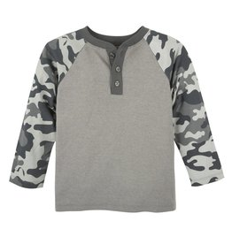 ANDY & EVAN Camo&Grey Color Blocked Henley