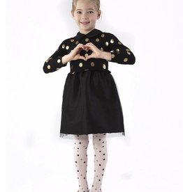 ANDY & EVAN Foil Sweater Dress w/ Taffetta Skirt