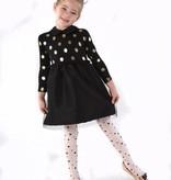 ANDY & EVAN Foil Sweater Dress w/ Taffetta Skirt