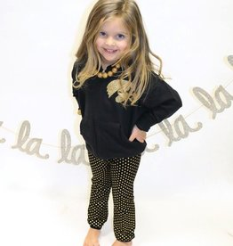 ANDY & EVAN Black w/ Gold Foil Dot Leggings