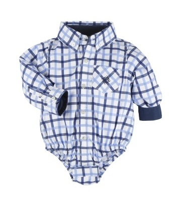 ANDY & EVAN Navy Large Check Shirtzie