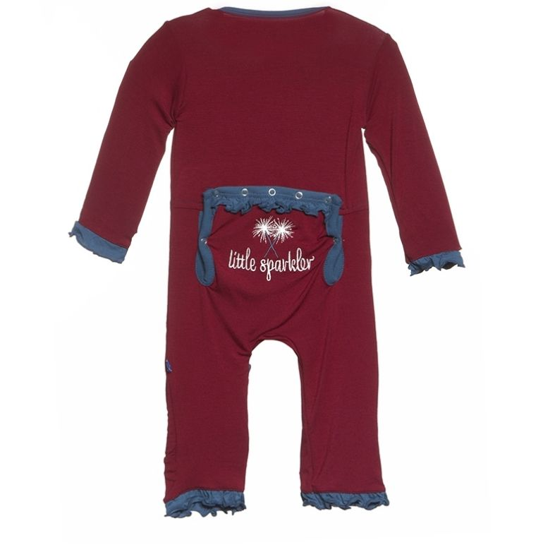 Kickee Pants ruff coverall.little sparkler.0-3m