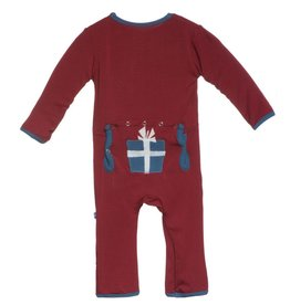 Kickee Pants APP COVERALL.BRICK PRESENT.6-12M