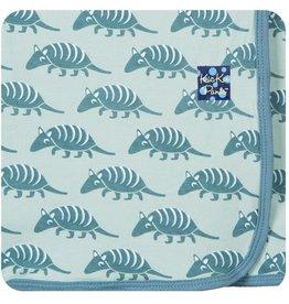 Kickee Pants Print Swaddle Blanket.Aloe Armadillo