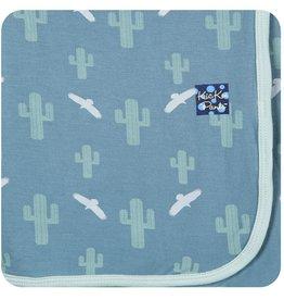 Kickee Pants Print Swaddle Blanket.Dusty Sky Cactus