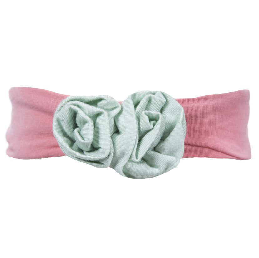 Kickee Pants Solid Flower Headband.Desert Rose with Aloe