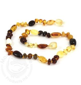 Momma Goose amber necklace. Olive Multi. 15""