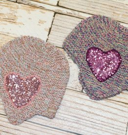 peppercorn kids SEQUIN HEART HAT.FROSTED ROSE.S