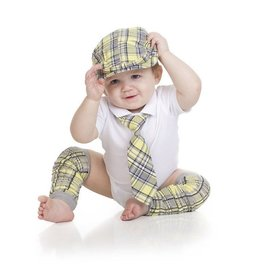 juDanzy ylw/grey plaid cabbie set.1-3y