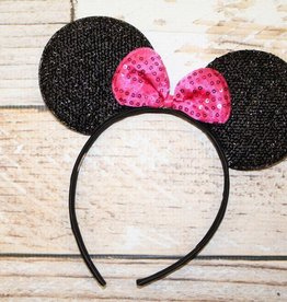 Lincoln&Lexi Sparkly Minnie Headband.Black/Bright Pink