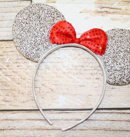 Lincoln&Lexi Sparkly Minnie Headband.Silver/Red