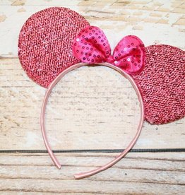 Lincoln&Lexi Sparkly Minnie Headband.Light Pink/Bright Pink