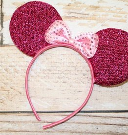 Lincoln&Lexi Sparkly Minnie Headband.Bright Pink/Light Pink