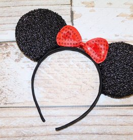 Lincoln&Lexi Sparkly Minnie Headband.Black/Red