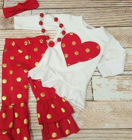 red/gold dot heart set.7y