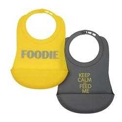 CHEWBEADS Foodie (Grey/Yellow) Bib 2 PK