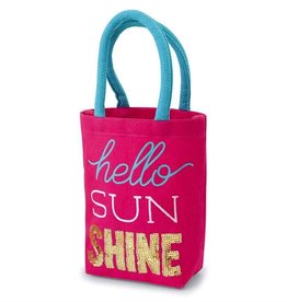 Mud Pie FUN IN THE SUN MINI TOTES-hello SUNSHINE-9in x 8 1/2in x 3in