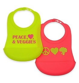 CHEWBEADS Peace, Love, Veggies Bib 2 PK