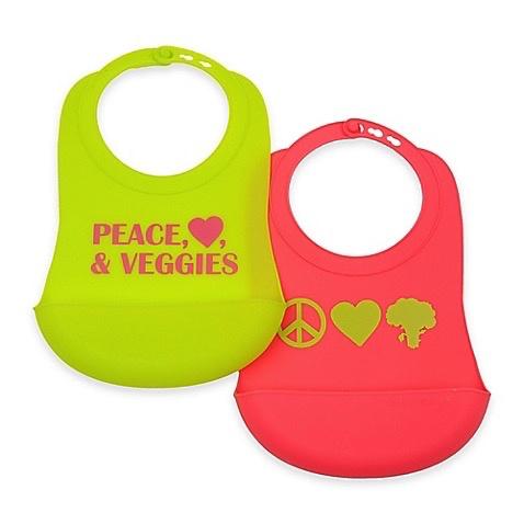 CHEWBEADS Peace, Love, Veggies Bib 2 PK