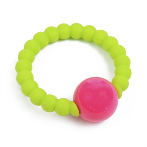 CHEWBEADS MERCER RATTLE.CHARTREUSE