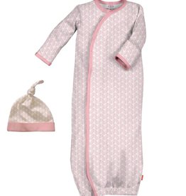 Magnificent Baby Pink Cable Leaf Modal Gown+Hat. NB-3M