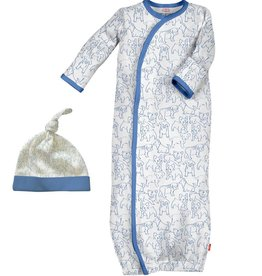 Magnificent Baby Blue Puppies Modal Gown + Hat