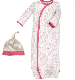 Magnificent Baby Pink Puppies Modal Gown + Hat NB-3M