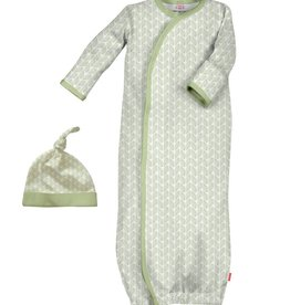 Magnificent Baby Green Cable Leaf Modal Gown + Hat.NB-3M