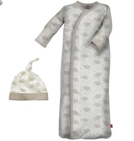 Magnificent Baby Grey Counting Sheep Modal Sack Gown+Hat. NB-3M